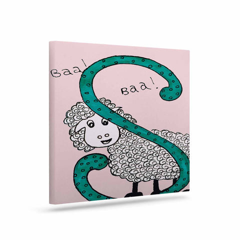 "Rosie Brown ""Sis for Sheep Pink"" Pink Teal Canvas Art - KESS InHouse  - 1"