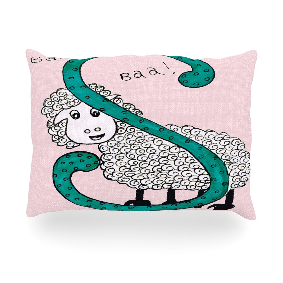 "Rosie Brown ""Sis for Sheep Pink"" Pink Teal Oblong Pillow - KESS InHouse"