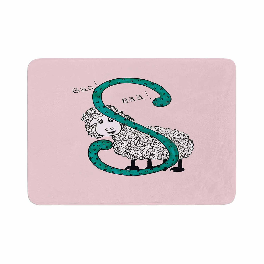 "Rosie Brown ""Sis for Sheep Pink"" Pink Teal Memory Foam Bath Mat - KESS InHouse"
