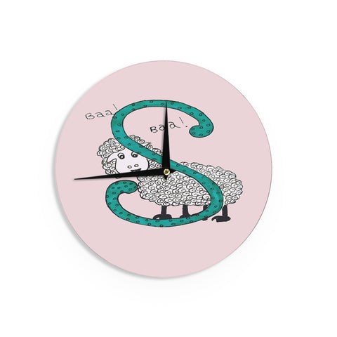 "Rosie Brown ""Sis for Sheep Pink"" Pink Teal Wall Clock - KESS InHouse"