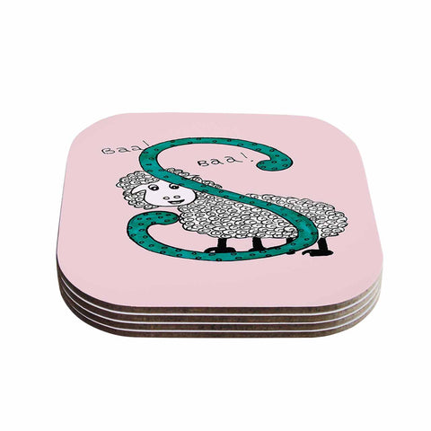 "Rosie Brown ""Sis for Sheep Pink"" Pink Teal Coasters (Set of 4)"