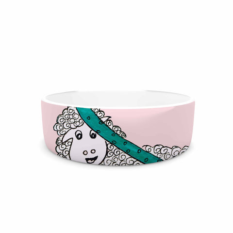 "Rosie Brown ""Sis for Sheep Pink"" Pink Teal Pet Bowl - KESS InHouse"