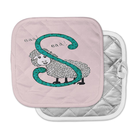 "Rosie Brown ""Sis for Sheep Pink"" Pink Teal Pot Holder"