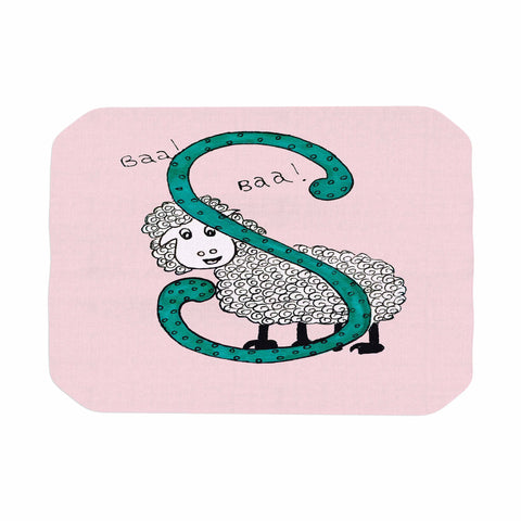 "Rosie Brown ""Sis for Sheep Pink"" Pink Teal Place Mat - KESS InHouse"