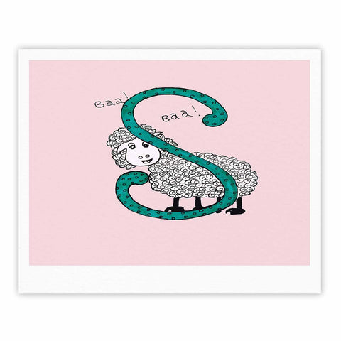 "Rosie Brown ""Sis for Sheep Pink"" Pink Teal Fine Art Gallery Print - KESS InHouse"