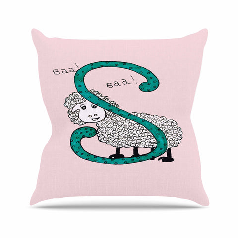 "Rosie Brown ""Sis for Sheep Pink"" Pink Teal Outdoor Throw Pillow - KESS InHouse  - 1"