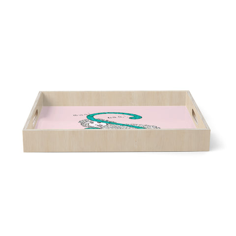 "Rosie Brown ""Sis for Sheep Pink"" Pink Teal Birchwood Tray"