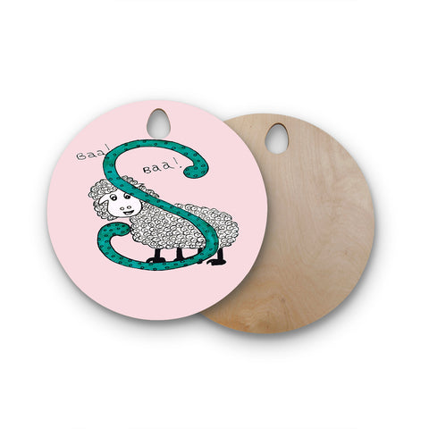"Rosie Brown ""Sis for Sheep Pink"" Pink Teal Round Wooden Cutting Board"