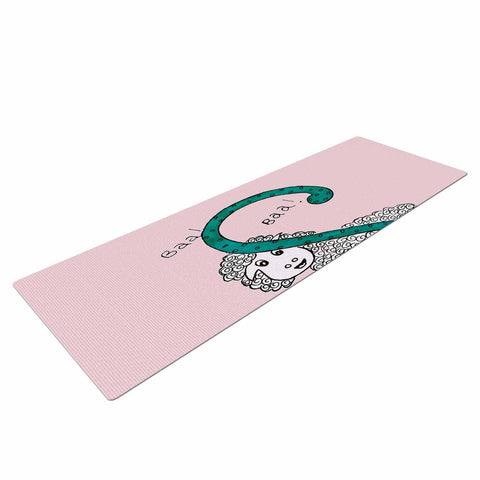 "Rosie Brown ""Sis for Sheep Pink"" Pink Teal Yoga Mat - KESS InHouse  - 1"