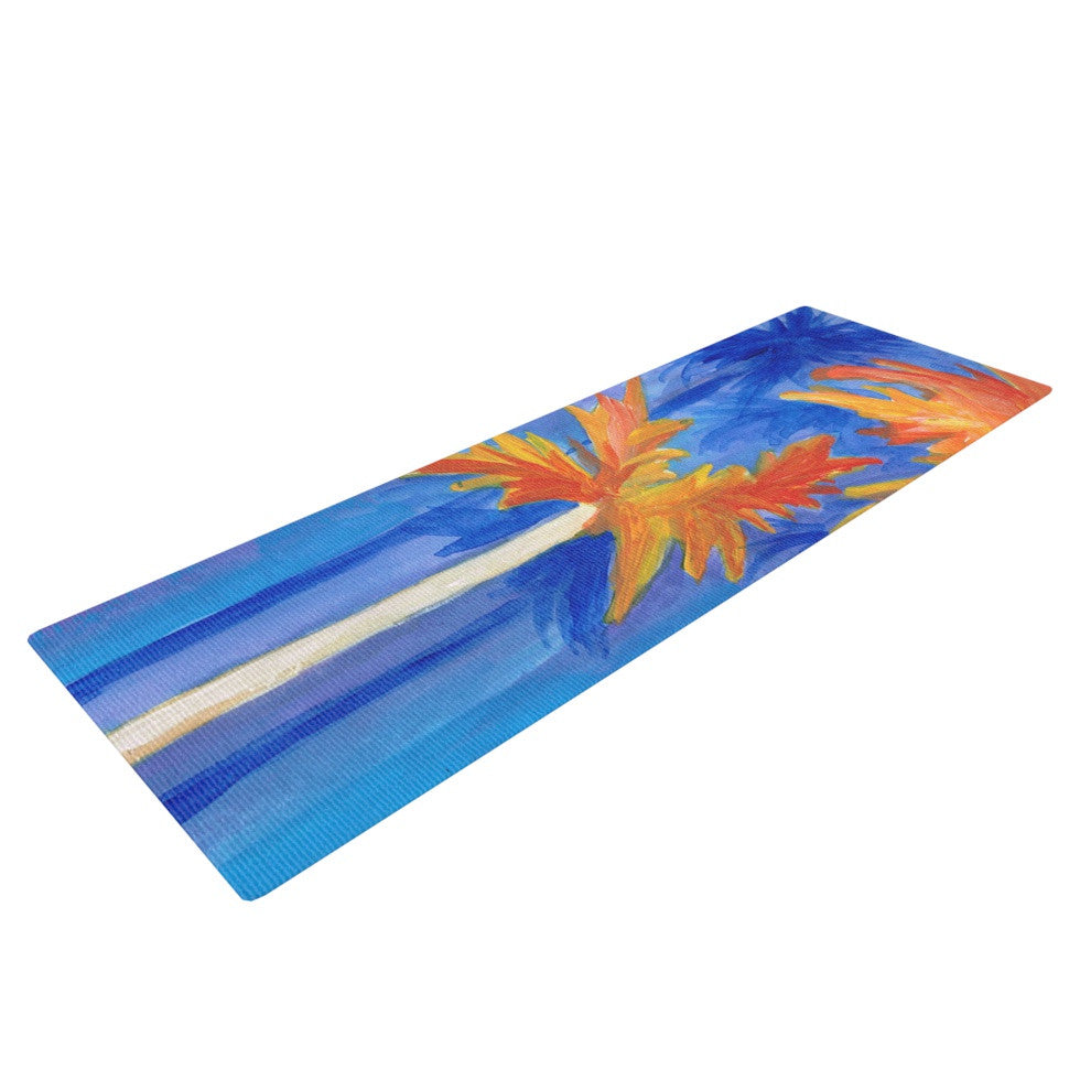 "Rosie Brown ""Florida Autumn"" Blue Orange Yoga Mat - KESS InHouse  - 1"