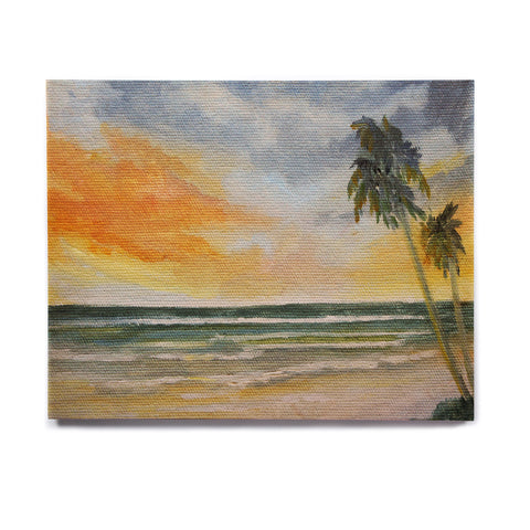 "Rosie Brown ""End of Day"" Beach Birchwood Wall Art - KESS InHouse  - 1"