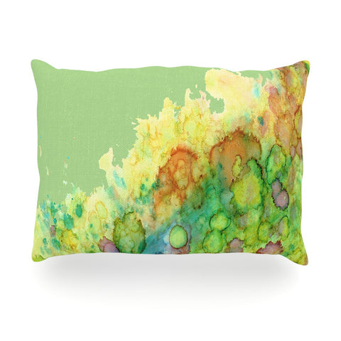 "Rosie Brown ""Sea Life"" Green Yellow Oblong Pillow - KESS InHouse"
