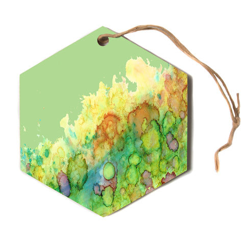 "Rosie Brown ""Sea Life"" Green Yellow Hexagon Holiday Ornament"