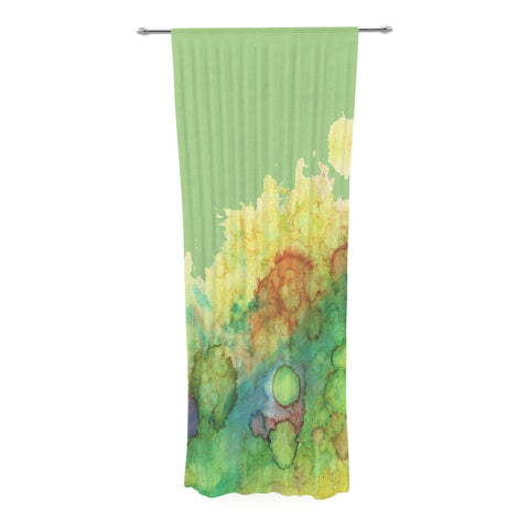 "Rosie Brown ""Sea Life"" Green Yellow Decorative Sheer Curtain - KESS InHouse  - 1"