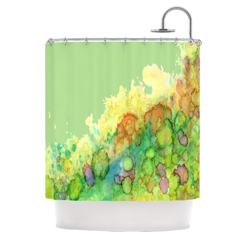 "Rosie Brown ""Sea Life"" Green Yellow Shower Curtain - KESS InHouse"