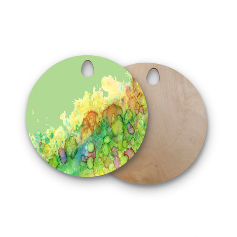 "Rosie Brown ""Sea Life"" Green Yellow Round Wooden Cutting Board"