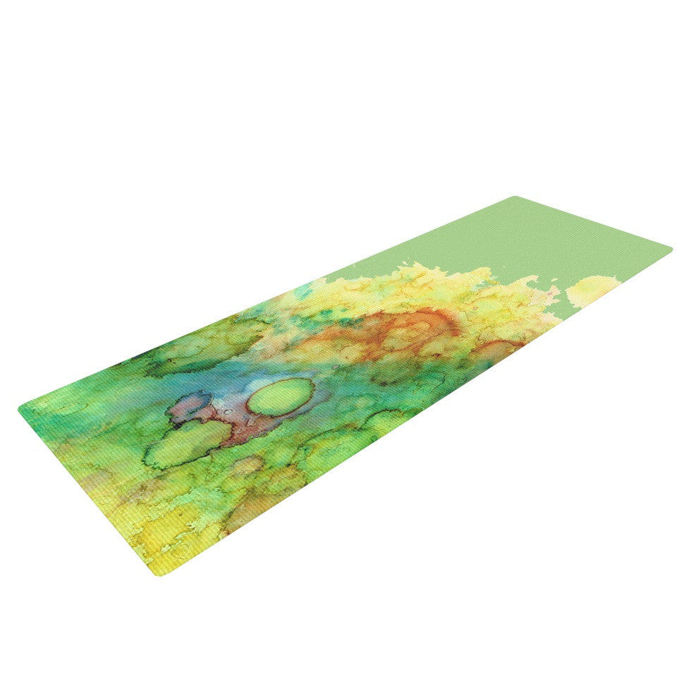 "Rosie Brown ""Sea Life"" Green Yellow Yoga Mat - KESS InHouse  - 1"
