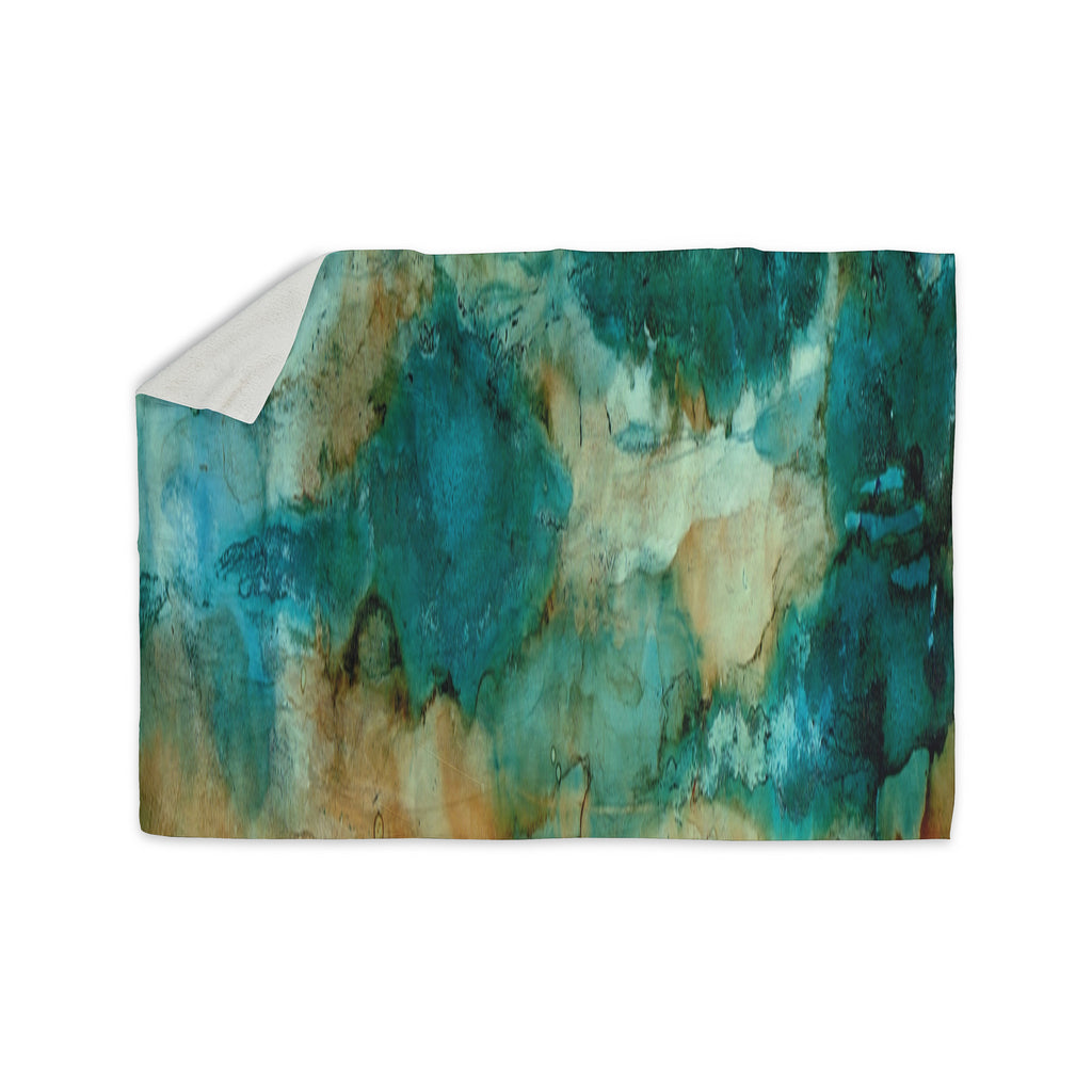 "Rosie Brown ""Waterfall"" Teal Blue Sherpa Blanket - KESS InHouse  - 1"