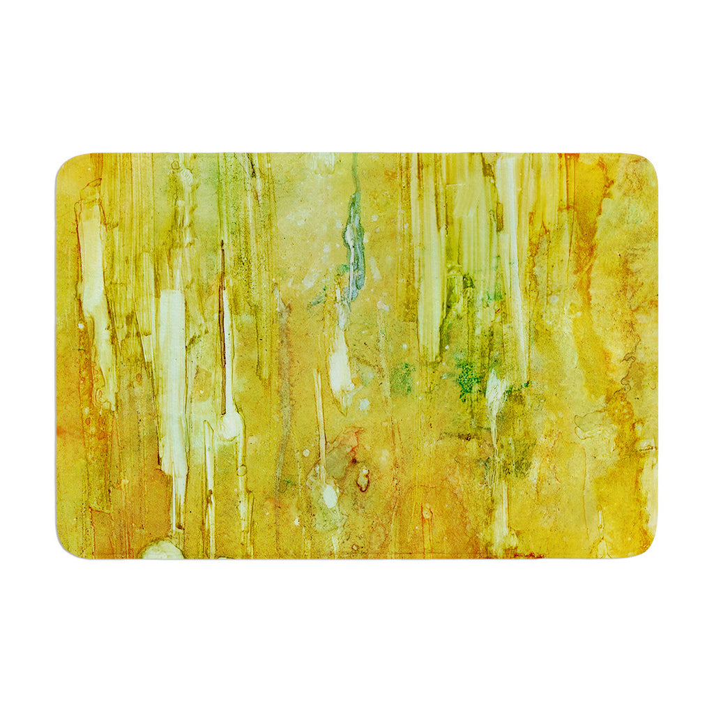 "Rosie Brown ""Rock City"" Yellow Painting Memory Foam Bath Mat - KESS InHouse"