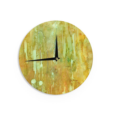 "Rosie Brown ""Rock City"" Yellow Painting Wall Clock - KESS InHouse"