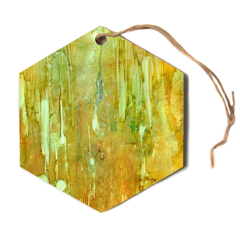 "Rosie Brown ""Rock City"" Yellow Painting Hexagon Holiday Ornament"