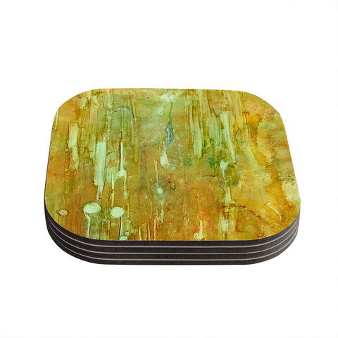 "Rosie Brown ""Rock City"" Yellow Painting Coasters (Set of 4)"