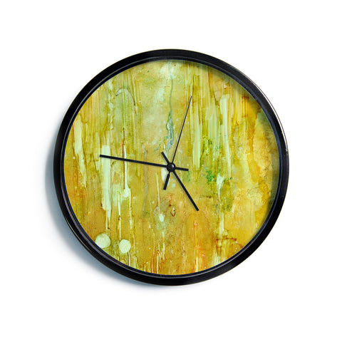 "Rosie Brown ""Rock City"" Yellow Painting Modern Wall Clock"