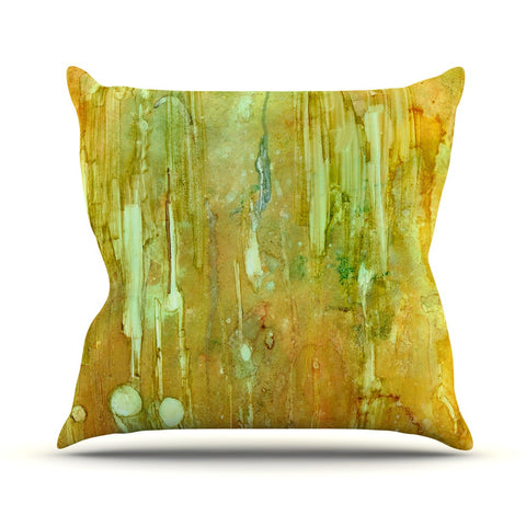 "Rosie Brown ""Rock City"" Yellow Painting Outdoor Throw Pillow - KESS InHouse  - 1"