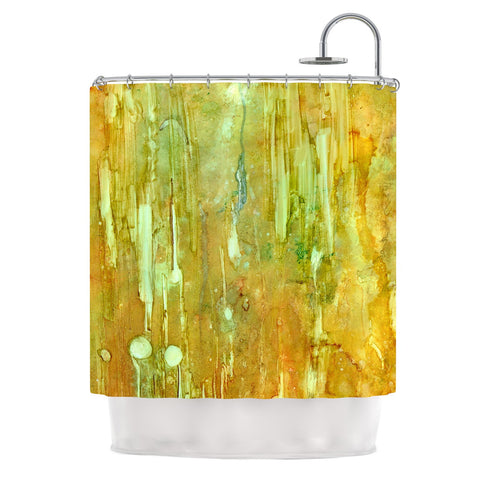 "Rosie Brown ""Rock City"" Yellow Painting Shower Curtain - KESS InHouse"