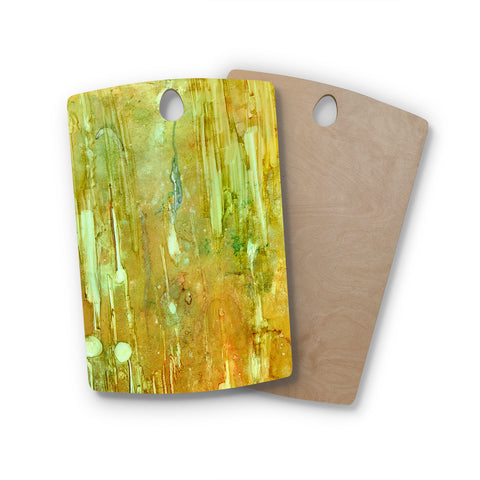 "Rosie Brown ""Rock City"" Yellow Painting Rectangle Wooden Cutting Board"