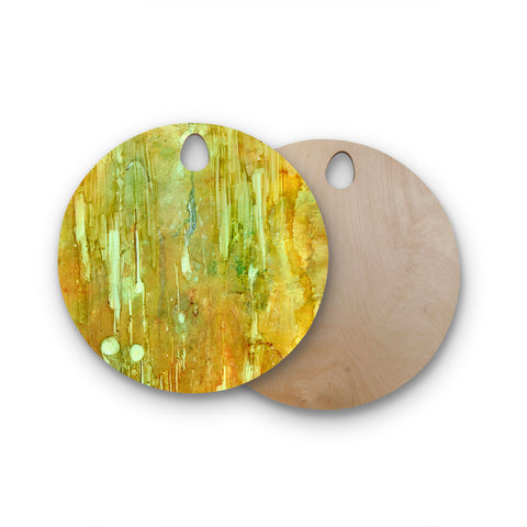 "Rosie Brown ""Rock City"" Yellow Painting Round Wooden Cutting Board"