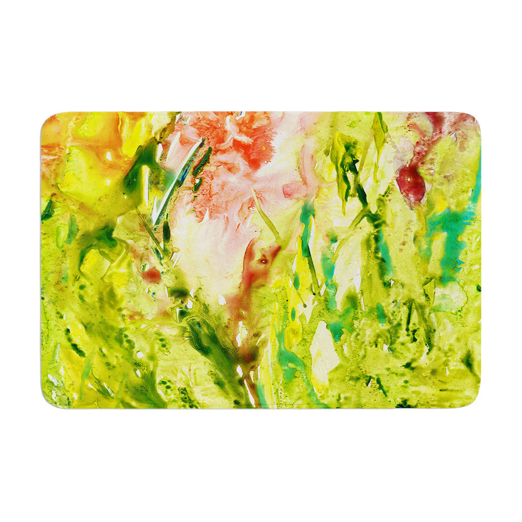"Rosie Brown ""Green Thumb"" Paint Lime Memory Foam Bath Mat - KESS InHouse"