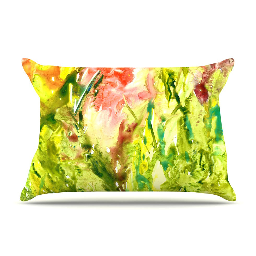 "Rosie Brown ""Green Thumb"" Paint Lime Pillow Sham - KESS InHouse"
