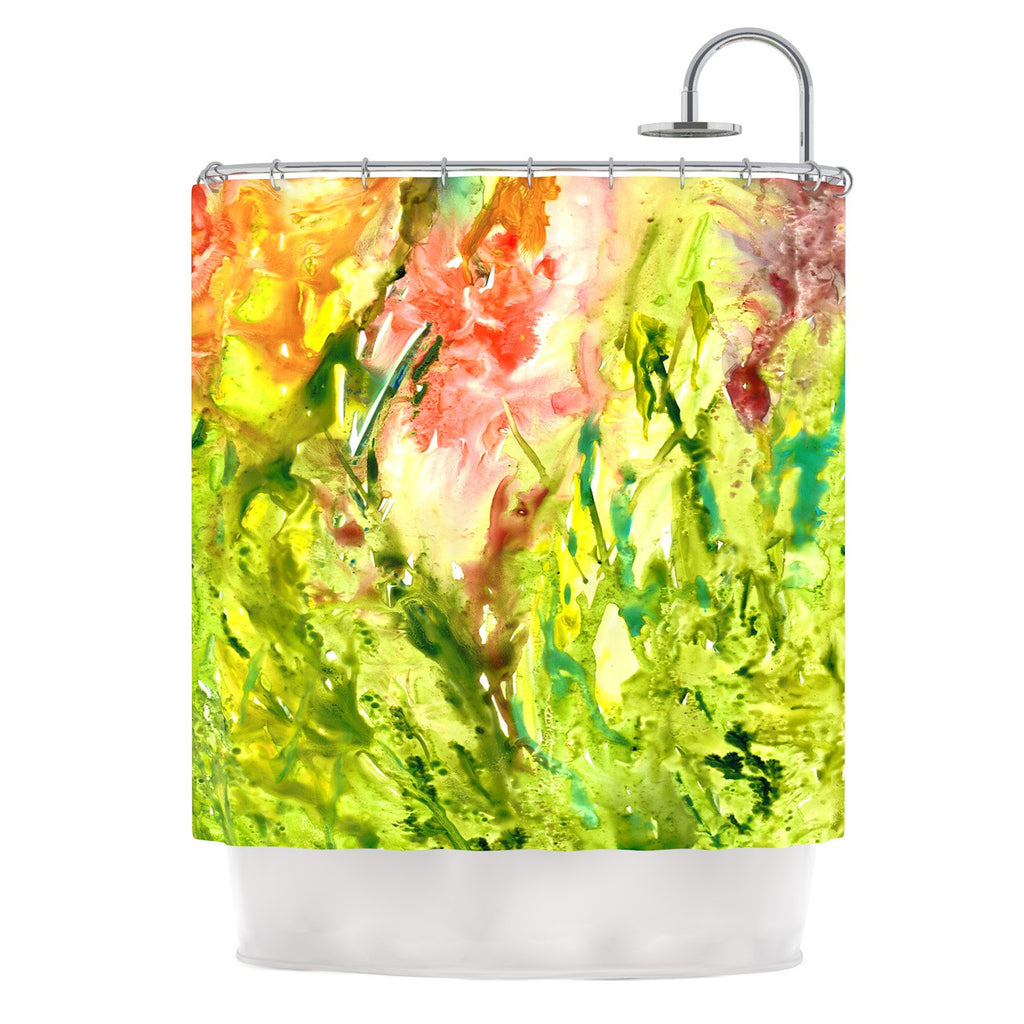 "Rosie Brown ""Green Thumb"" Paint Lime Shower Curtain - KESS InHouse"