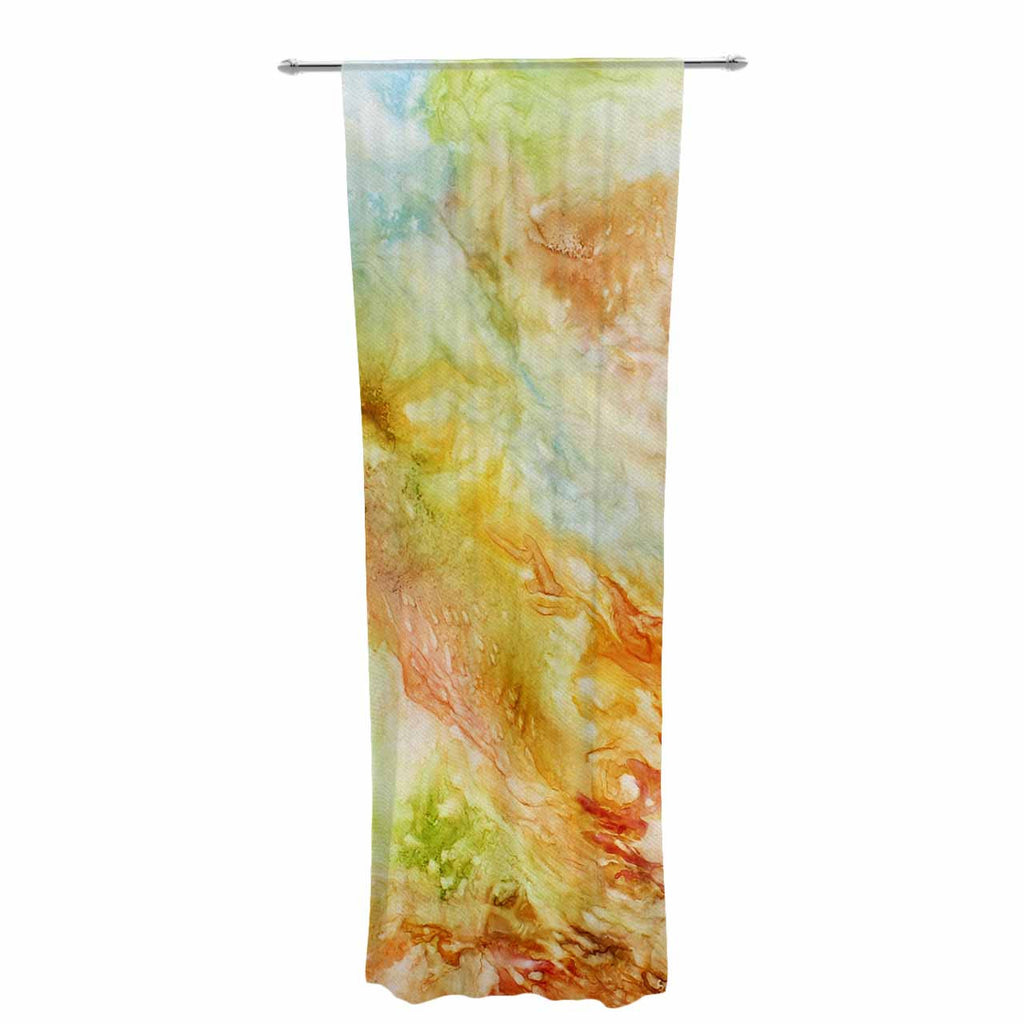 "Rosie Brown ""Autumn Breeze"" Orange Red Decorative Sheer Curtain - KESS InHouse  - 1"
