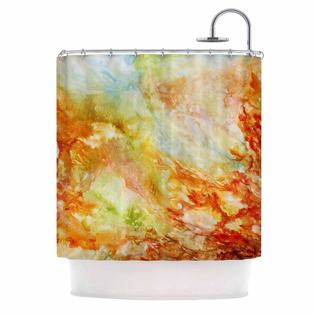 "Rosie Brown ""Autumn Breeze"" Orange Red Shower Curtain - KESS InHouse"