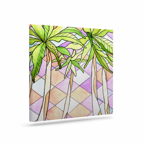 "Rosie Brown ""Geometric Tropic"" Pink Green Canvas Art - KESS InHouse  - 1"