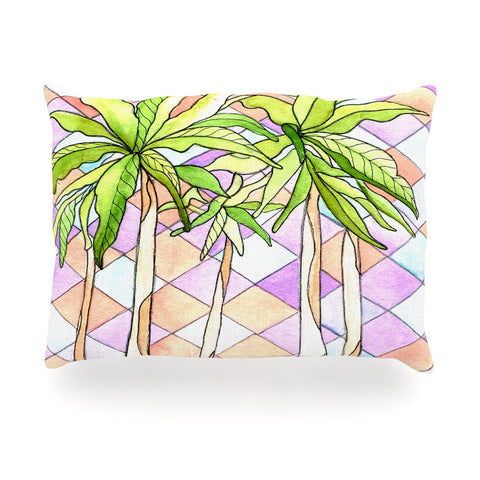 "Rosie Brown ""Geometric Tropic"" Pink Green Oblong Pillow - KESS InHouse"