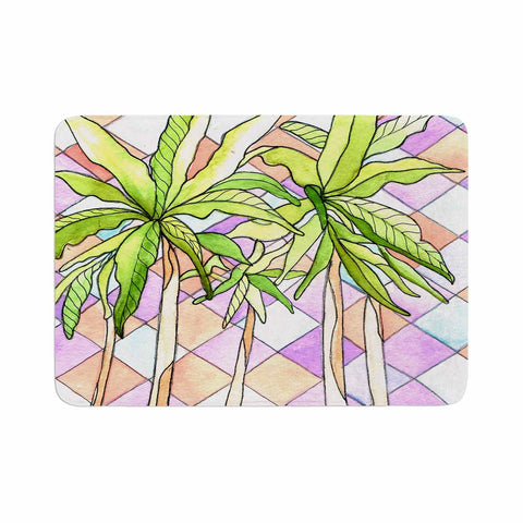 "Rosie Brown ""Geometric Tropic"" Pink Green Memory Foam Bath Mat - KESS InHouse"