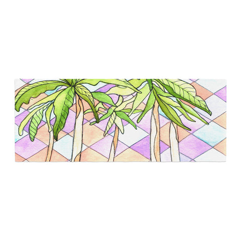 "Rosie Brown ""Geometric Tropic"" Pink Green Bed Runner - KESS InHouse"