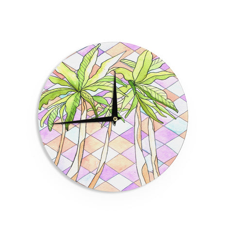 "Rosie Brown ""Geometric Tropic"" Pink Green Wall Clock - KESS InHouse"