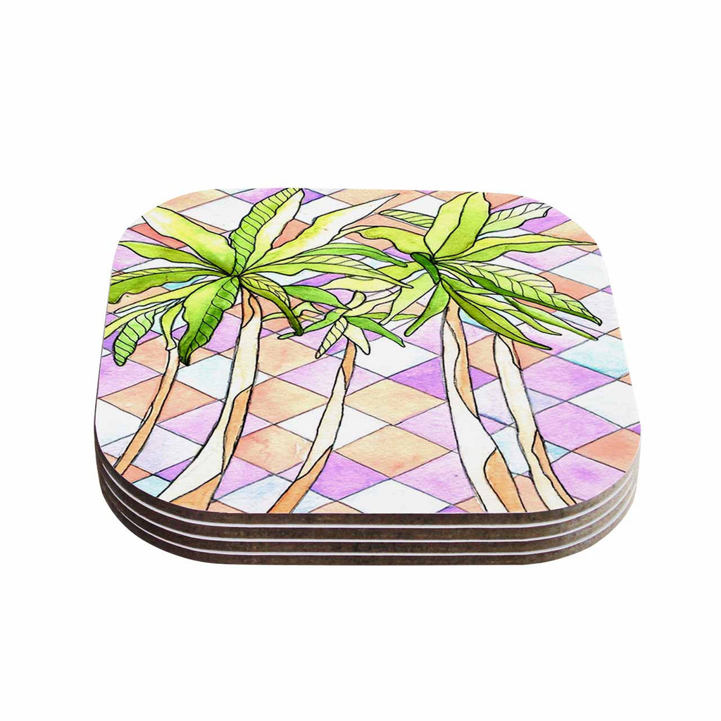 "Rosie Brown ""Geometric Tropic"" Pink Green Coasters (Set of 4)"