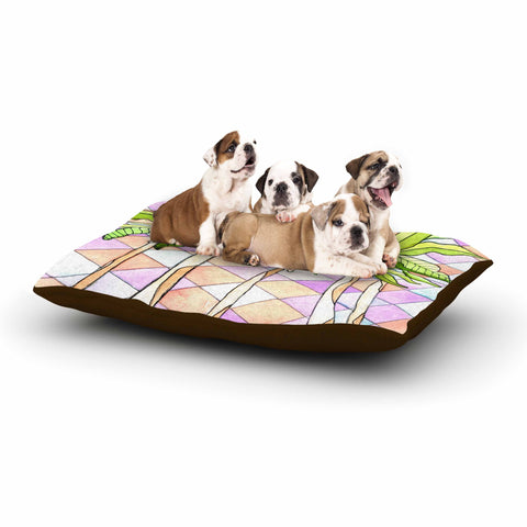 "Rosie Brown ""Geometric Tropic"" Pink Green Dog Bed - KESS InHouse  - 1"