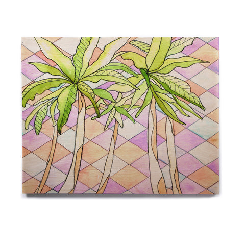 "Rosie Brown ""Geometric Tropic"" Pink Green Birchwood Wall Art - KESS InHouse  - 1"