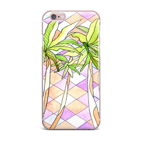 "Rosie Brown ""Geometric Tropic"" Pink Green iPhone Case - KESS InHouse"