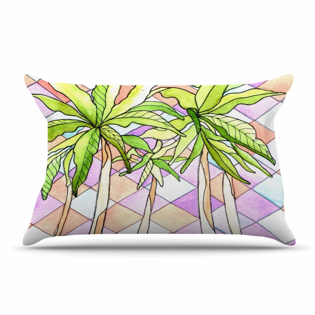 "Rosie Brown ""Geometric Tropic"" Pink Green Pillow Sham - KESS InHouse"