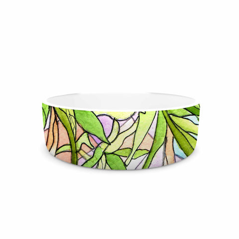 "Rosie Brown ""Geometric Tropic"" Pink Green Pet Bowl - KESS InHouse"