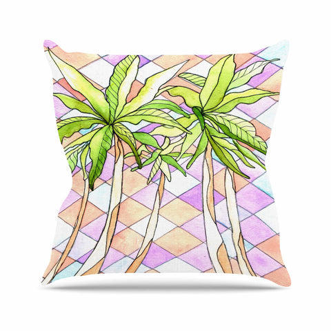 "Rosie Brown ""Geometric Tropic"" Pink Green Throw Pillow - KESS InHouse  - 1"