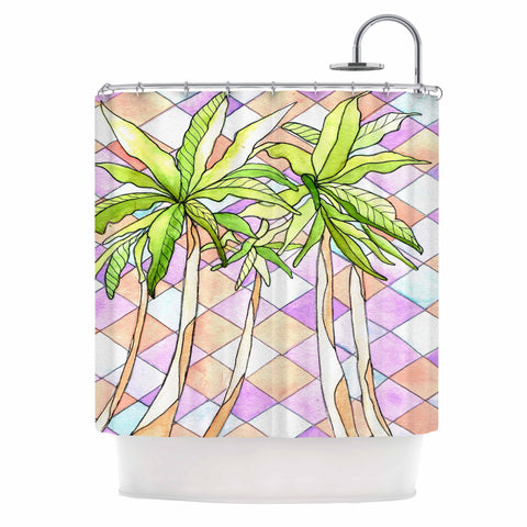 "Rosie Brown ""Geometric Tropic"" Pink Green Shower Curtain - KESS InHouse"