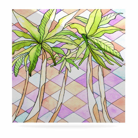 "Rosie Brown ""Geometric Tropic"" Pink Green Luxe Square Panel - KESS InHouse  - 1"